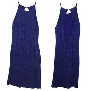 Prom Dress Blue With Glitter Sleeveless Size 10